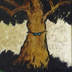 Wise tree, 2005, acrylics and gold on wood, 20 x 30 cm