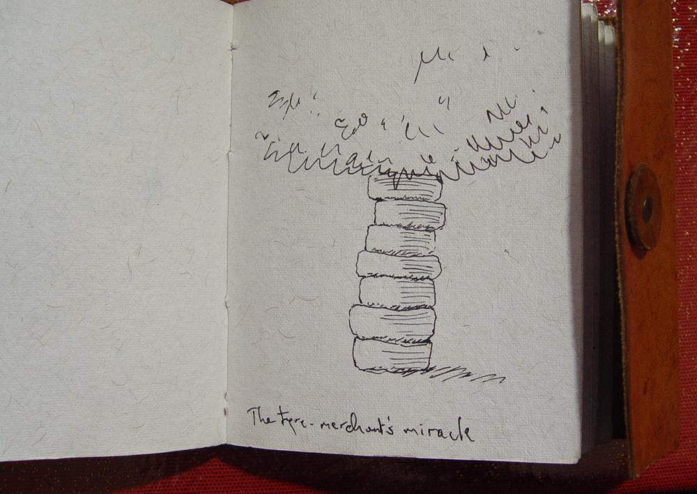 Initial sketch for The tyre shop miracle