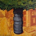 The tyre shop miracle, 2011, acrylics on canvas, 60 x 60 cm