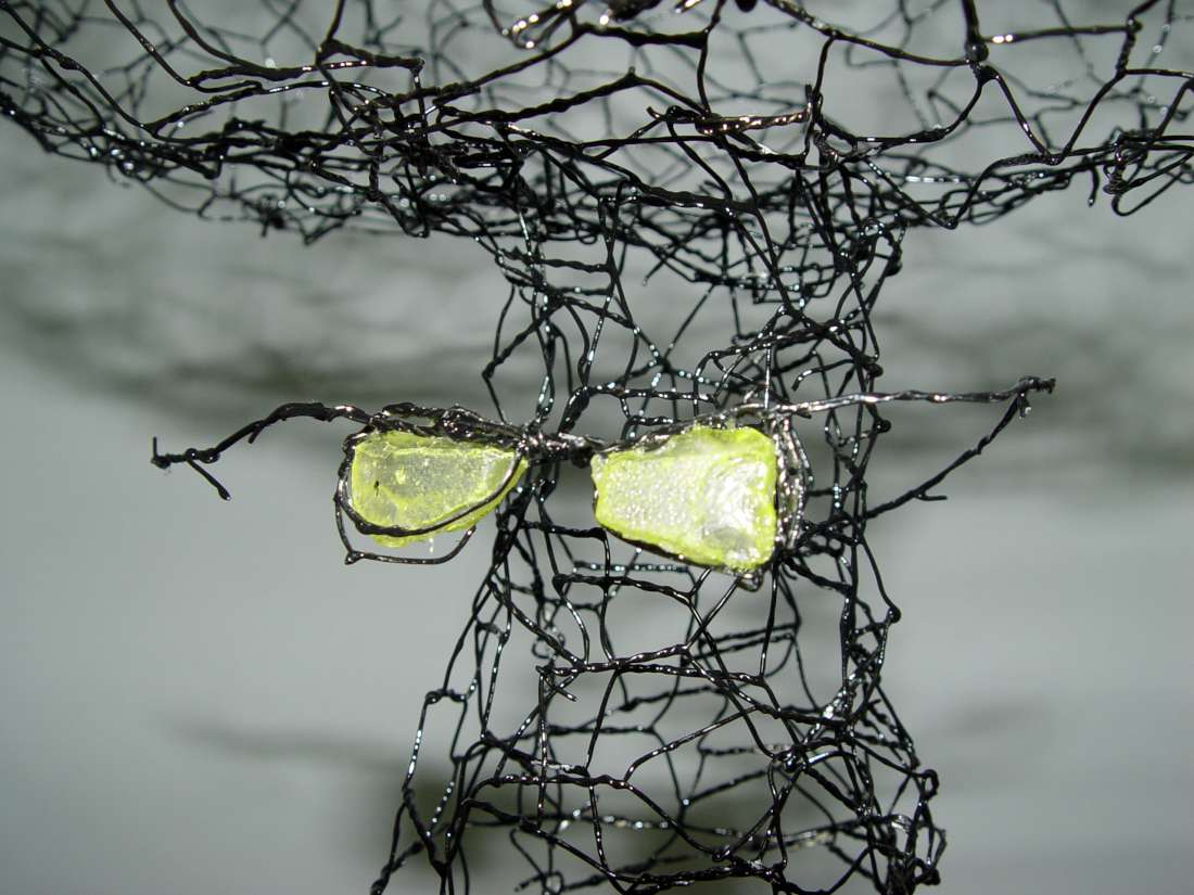 Detail, model for large barbed wire tree, 2014, wire and glass, h. 60 cm
