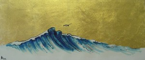 Wave, 2000, oils and gold on canvas, 63 x 27 cm