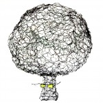 Model for large barbed wire tree, 2014, wire and glass, h. 60 cm